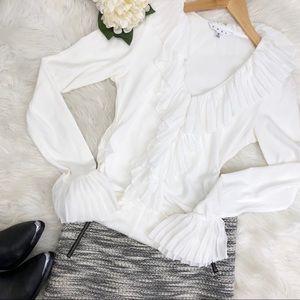 CAbi Gardenia White Ruffle Long Sleeve Blouse Sz S